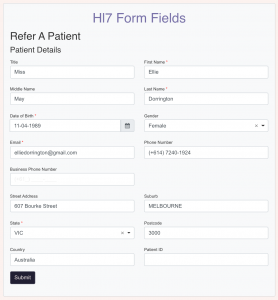 HotHealth: Hl7 Form Fields
